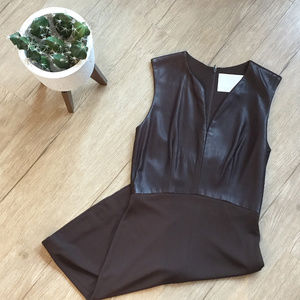 Vera Wang Chocolate Brown Leather Dress